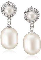 Bella Pearl Double Pearl Cubic Zirconia Drop Earrings
