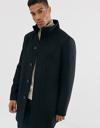 French Connection wool blend funnel neck coat-Black