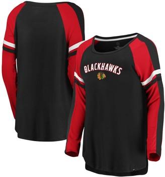 Women's Fanatics Branded Black/Red Chicago Blackhawks Flashy Raglan Long Sleeve T-Shirt