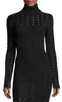 Alice + Olivia Cathie Pointelle Turtleneck Top, Black