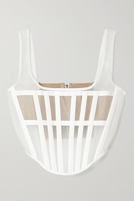 Dion Lee Spacer Canvas-trimmed Tulle Bustier Top - White