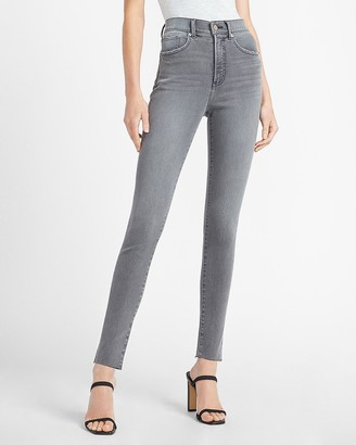 Express High Waisted Gray Raw Hem Skinny Jeans