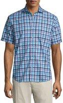 Neiman Marcus Check-Print Short-Sleeve Sport Shirt, Blue