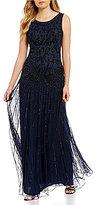 Pisarro Nights Paisley Sequin Motif Drop Waist Gown