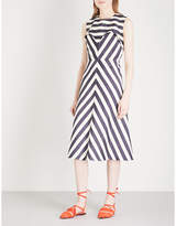 DELPOZO Striped sleeveless fit-and-flare linen-blend dress