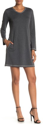 Max Studio Topstitched Long Sleeve Shift Dress