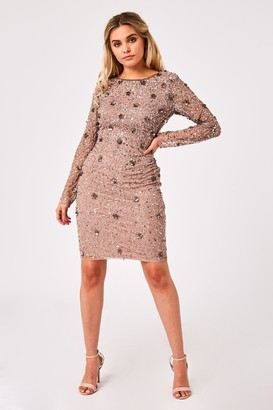 Little Mistress Jenny Mink Sequin Bodycon Dress