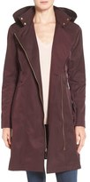 Vince Camuto Belted Asymmetrical Zip Raincoat