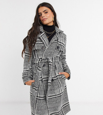 4th + Reckless Petite trench coat in check