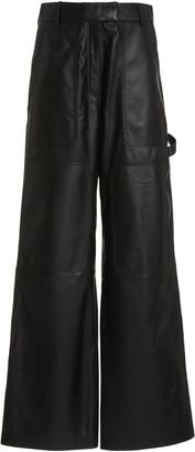 Common Leisure Women's Feel Biz. Leather Wide-Leg Cargo Pants - Black - Moda Operandi