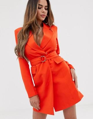 Club L London longline blazer dress with buckle detail in orange