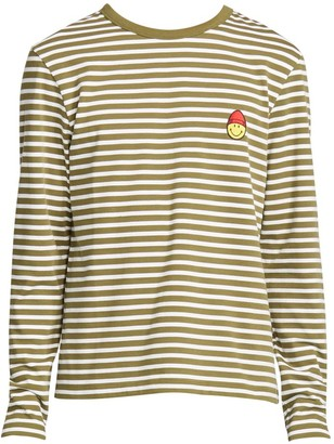 Ami Paris Long Sleeve Striped Smile Patch T-Shirt