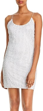 Alice + Olivia Nelle Fitted Embellished Mini Dress