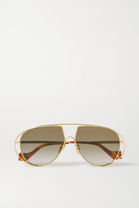 Loewe Aviator-style Gold-tone And Tortoiseshell Acetate Sunglasses