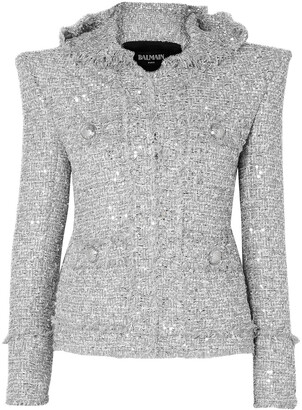 Balmain Metallic Embellished Boucle-tweed Hooded Jacket