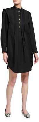 Chloé Mock-Neck Gabardine Long-Sleeve Shift Dress