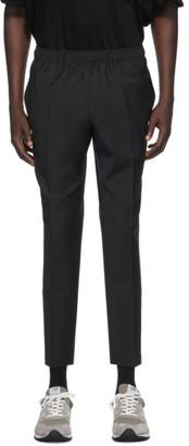 N.Hoolywood Black Wool Elastic Waist Trousers