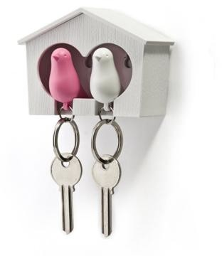 Qualy - Duo Sparrow Keyring Pink White