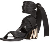 Proenza Schouler XMM Leather Ankle-Wrap Sandal, Black