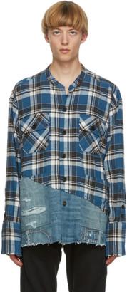 Greg Lauren Blue 50-50 Boxy Studio Shirt
