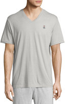 Psycho Bunny Classic Embroidered-Logo V-Neck Lounge Tee, Mirage Gray
