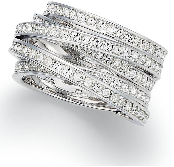 Swarovski Ring, Silver-Tone Crystal Spiral Ring