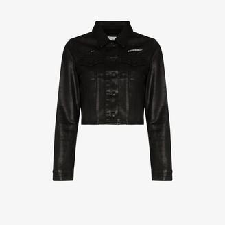Off-White Cropped Coated Denim Jacket