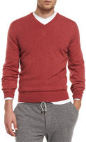 Brunello Cucinelli Cashmere V-Neck Pullover Sweater, Red