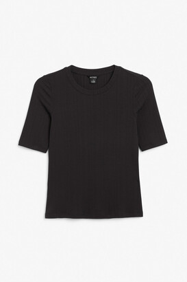 Monki Fitted ribbed tee