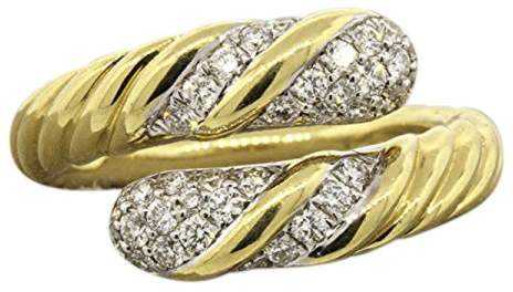 David Yurman 18k Yellow Gold Willow Open Single Row Diamond Ring Size 7