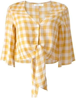 BCBGeneration Knot Front Cropped Check Print Top