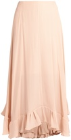 Chloé Flounce-hem satin-backed crepe midi skirt