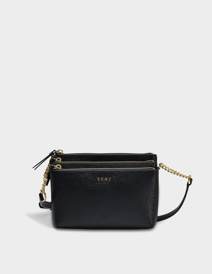 DKNY Sutton Triple Zip Crossbody Bag in Black Textured Leather