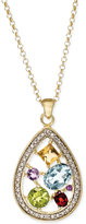 Townsend Victoria Multi-Stone (2-1/10 ct. t.w.) and Diamond Accent Pendant Necklace in 18k Gold over Sterling Silver