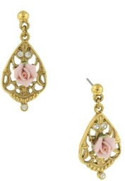 2028 Gold-Tone Crystal and Pink Porcelain Rose Filigree Drop Earrings
