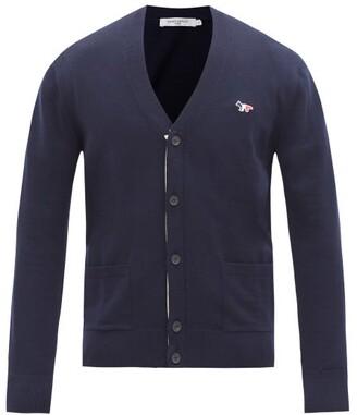 MAISON KITSUNÉ Tricolour Fox-patch Wool Cardigan - Navy