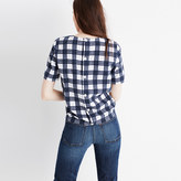 Madewell Plaid Button-Back Tie Tee