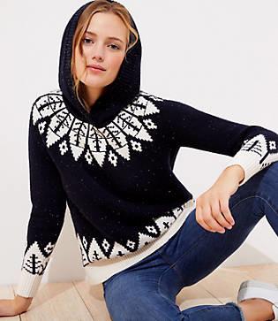 LOFT Fairisle Hoodie Sweater