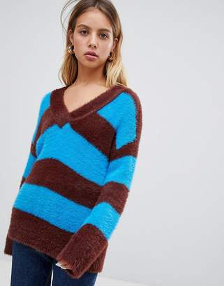 Wild Honey oversized v neck sweater in stripe-Blue