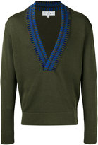 Salvatore Ferragamo V-neck sweatshirt - men - Silk/Cotton - S