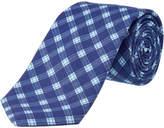 Ike Behar Navy Plaid Silk-Blend Tie