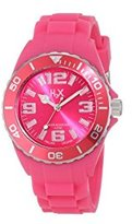 Haurex H2X Women's SF382DF1 Reef Luminous Water Resistant Hot Pink Soft Rubber Watch