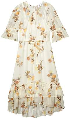 Calvin Klein Floral Print Chiffon Dress with Ruffle Cuff and Hem (Luggage Multi) Women's Dress