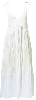 Jil Sander Namie Drawstring Creased Voile Midi Dress - Ivory