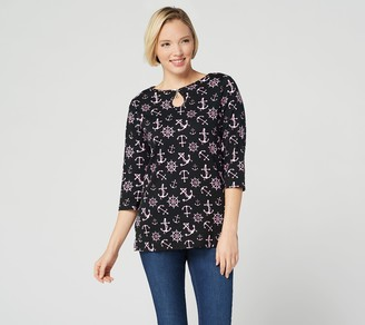 Factory Quacker Printed Nautical Top with Keyhole Neck Detail