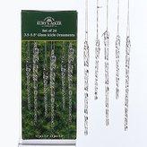 "Kurt Adler 24 piece Set 3.5""-5.5"" Assorted Clear Glass Icicle Ornaments"