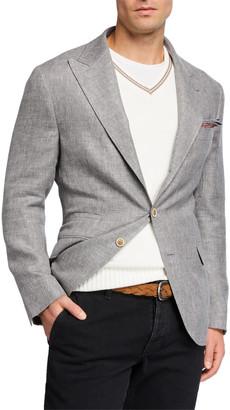 Brunello Cucinelli Men's Peak-Lapel Linen-Blend Hopsack Sport Jacket