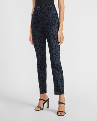 Express High Waisted Textured Leopard Print Skinny Jeans