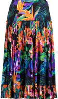 Matthew Williamson Black Marakas Montage Pleated Printed Silk-Satin Skirt