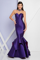 Terani Couture 1721E4125 Illusion High Neck Ruffled and Mermaid Gown